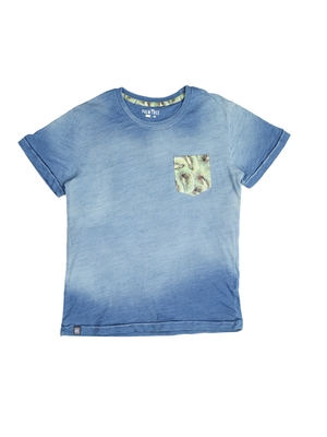 Blue printed cotton boys-tshirts