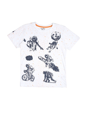 White printed cotton boys-tshirts