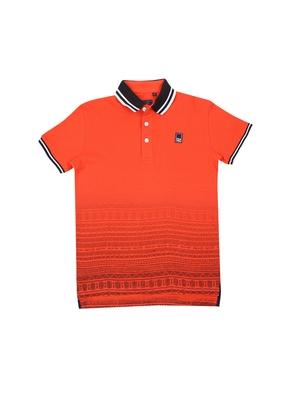 Orange printed cotton boys-tshirts