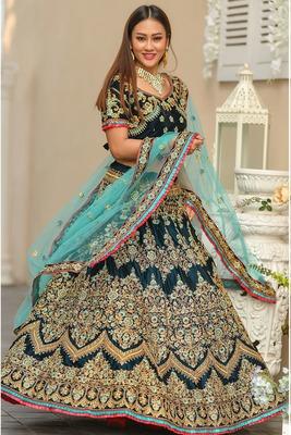Teal  embroidered velvet semi stitched lehenga