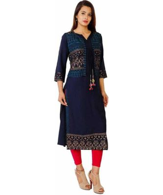 blue Kurti with Blue Jacket