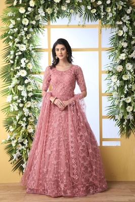 DUSTY PEACH THREAD EMBROIDERY NET SEMI STITCHED GOWN