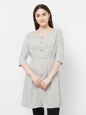Grey plain rayon ethnic-kurtis