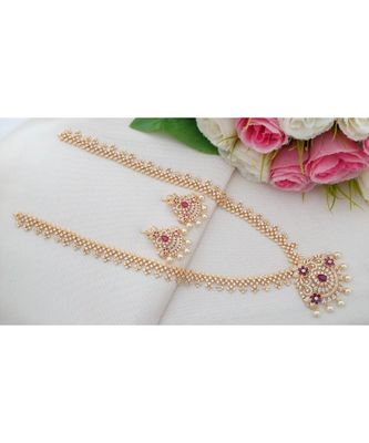 Grand Cubic Zircon Long Necklace with Flower Design Pendant & Matching Ear Rings