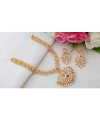 Exquisite Designer Cubic Zircon Neckset with Dual Peacock Pendant & Matching Ear Rings