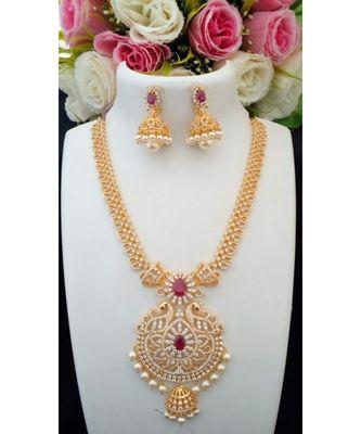 Elegant Designer Cubic Zircon Necklace with Peacock Pendant & Matching Jhumkas