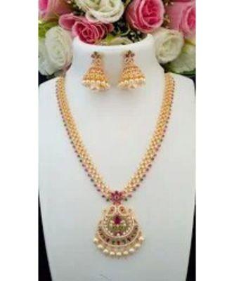 Beautiful Designer American Diamond Necklace with Mango Pendant & Matching Jhumkas
