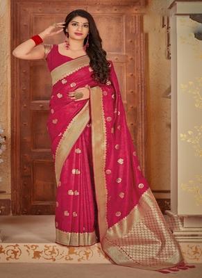 raspberry woven banarasi saree with blouse