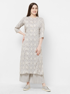 Grey printed rayon salwar