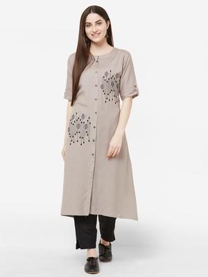 Grey embroidered cotton salwar