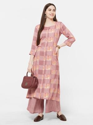 Pink printed rayon salwar