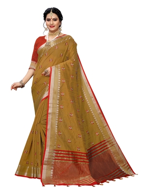 Brown embroidered banarasi silk saree with blouse