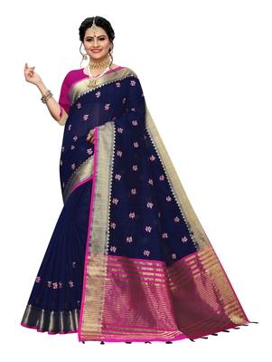 Dark blue embroidered banarasi silk saree with blouse
