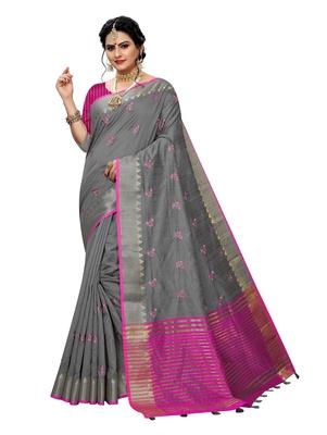 Grey embroidered banarasi silk saree with blouse