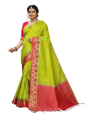 Light green woven banarasi silk saree with blouse