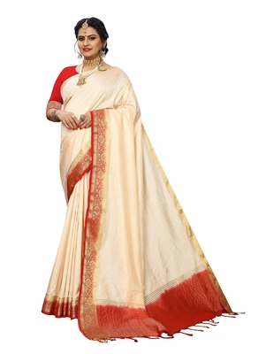 Off white woven banarasi silk saree with blouse