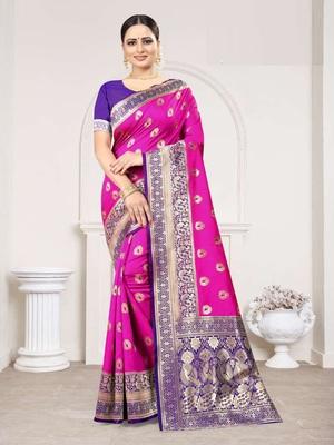 Rani woven Banarasi silk saree with Blouse
