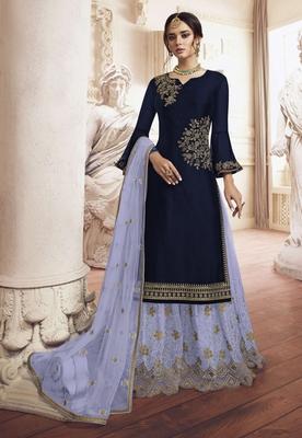 Navy-blue embroidered silk salwar