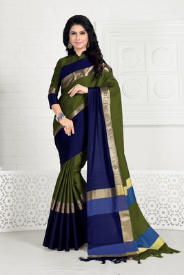Dark green hand woven cotton silk saree with blouse