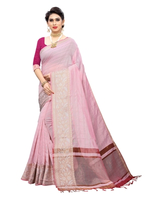 Light pink woven chanderi saree with blouse