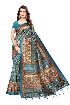 Cyan printed art silk saree with blouse