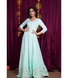 blue embroidered rayon gown