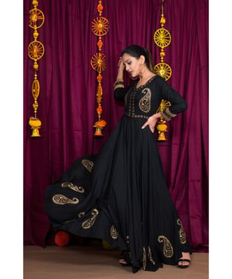Black embroidered rayon gown