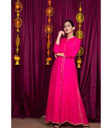 pink embroidered rayon gown