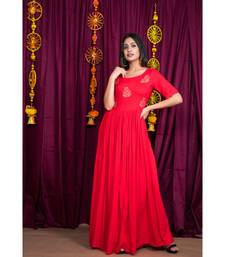 Red embroidered rayon gown
