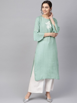 Women Sea Green Embroidered Straight Rayon Dobby Kurta