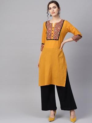 Women Mustard Embroidered Straight Cotton Kurta