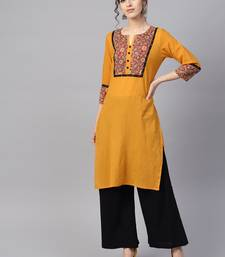 Women Mustard Embroidered Straight Cotton Kurta