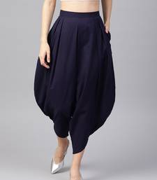 blue Cotton Dhoti Pant Having Pockets At Side