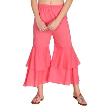 Pink plain cotton palazzo-pants