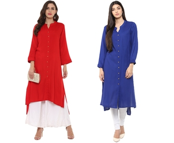 blue and red rayon combo kurti