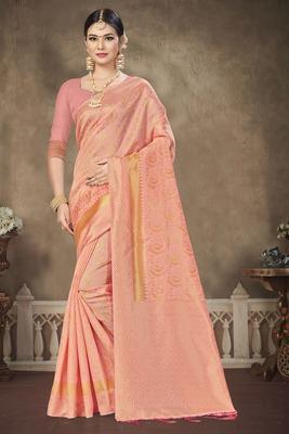 Light Pink Printed Banarasi Silk Saree With Blouse