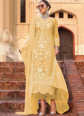 Yellow Net Pakistani Salwar Kameez