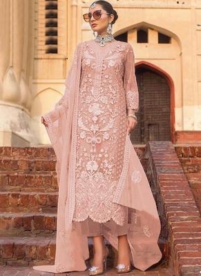 Light Pink Net Pakistani Salwar Kameez