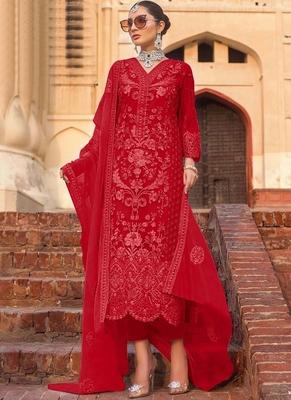 Red Net Pakistani Salwar Kameez