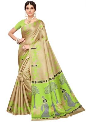 Cream printed khadi saree with blouse