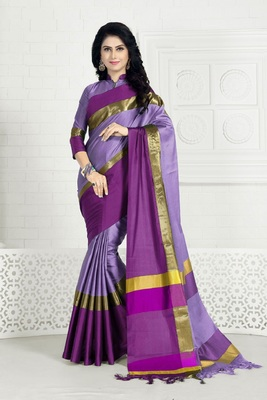 Lavender hand woven cotton silk saree with blouse