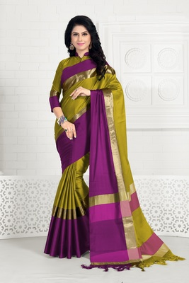 Lemon hand woven cotton silk saree with blouse