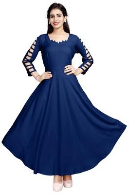 Blue embroidered rayon long-kurtis