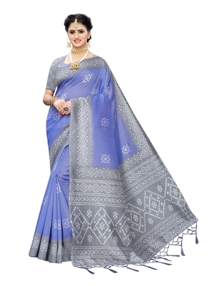 Blue printed poly cotton saree with blouse