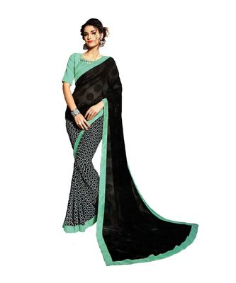 Black Woven Georgette Saree With Blouse