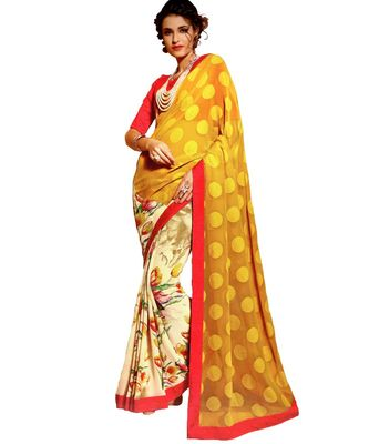 Yellow Woven Georgette Saree With Blouse