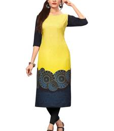 Yellow Color Digital Printed American Crepe Straight Kurti