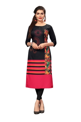 Black Color Digital Printed American Crepe Straight Kurti