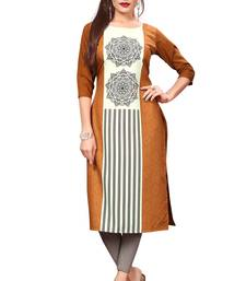 Orange Color Digital Printed American Crepe Straight Kurti