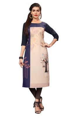 Multi-Color Digital Printed American Crepe Straight Kurti